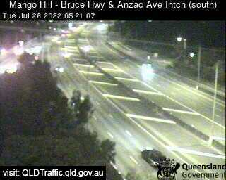Traffic camera Bruce Highway - Mango Hill, Anzac Ave Interchange (looking south) - Caboolture Traffic, River Height and Weather Information